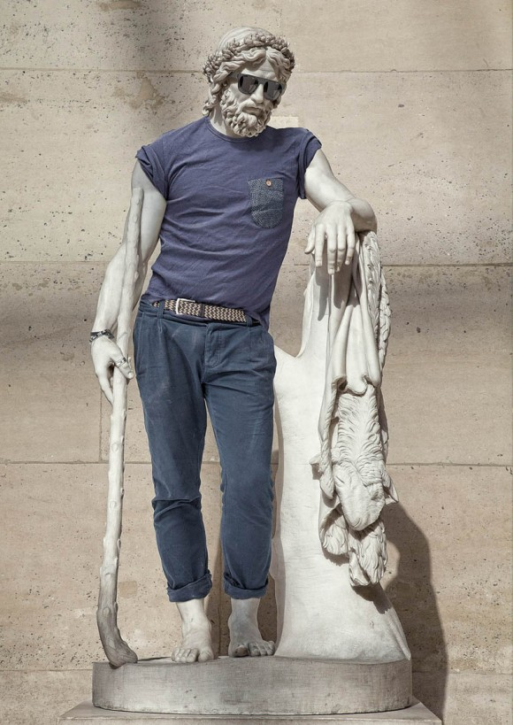 Hipsters in stone ancient statues modern day clothing 1