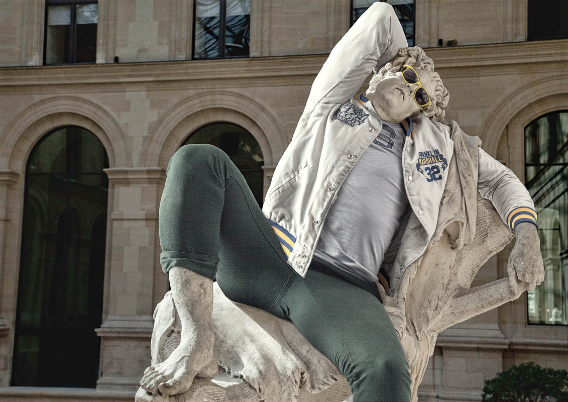Hipsters in stone ancient statues modern day clothing 4