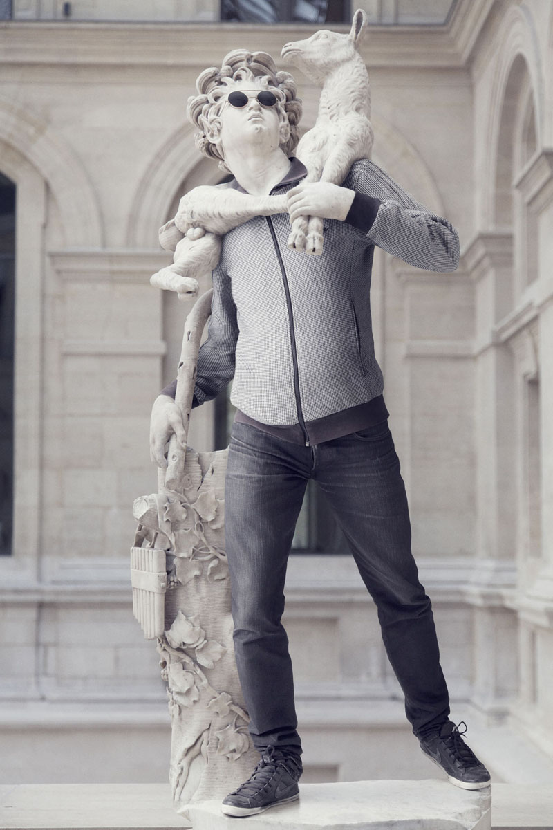 Hipsters in stone ancient statues modern day clothing 6