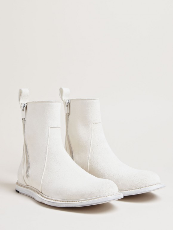 Milk White Zip Boots Rick Owens brushed leather 1