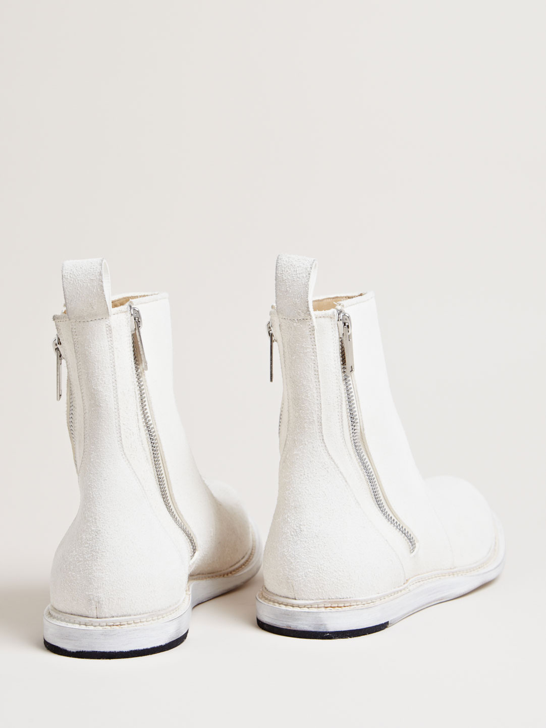 Milk White Zip Boots Rick Owens brushed leather 2