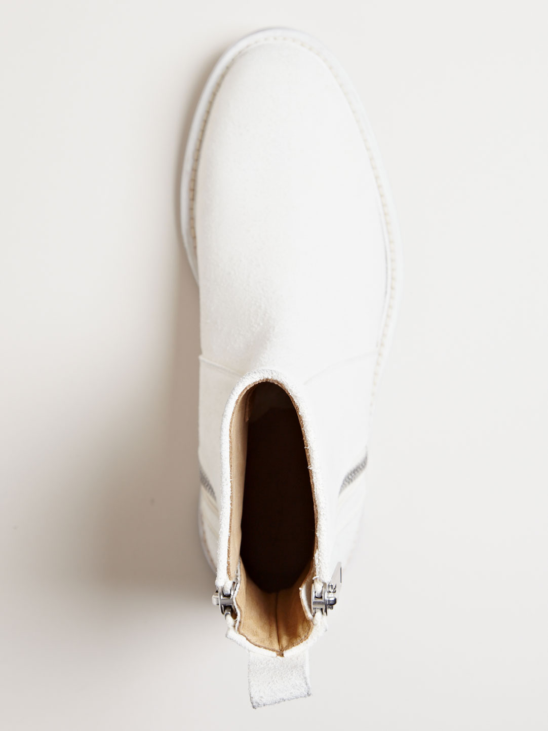 Milk White Zip Boots Rick Owens brushed leather 3