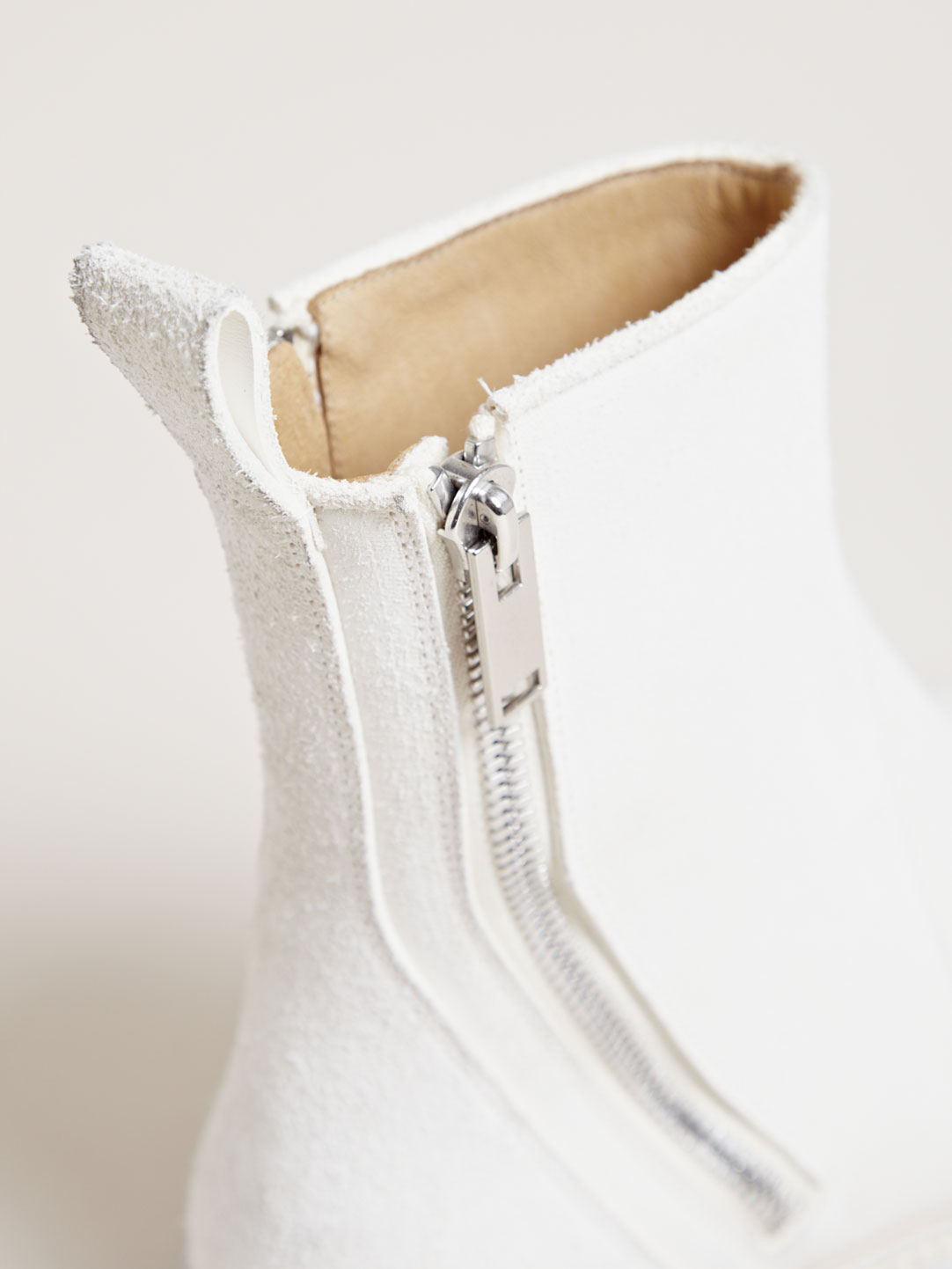 Milk White Zip Boots Rick Owens brushed leather 4