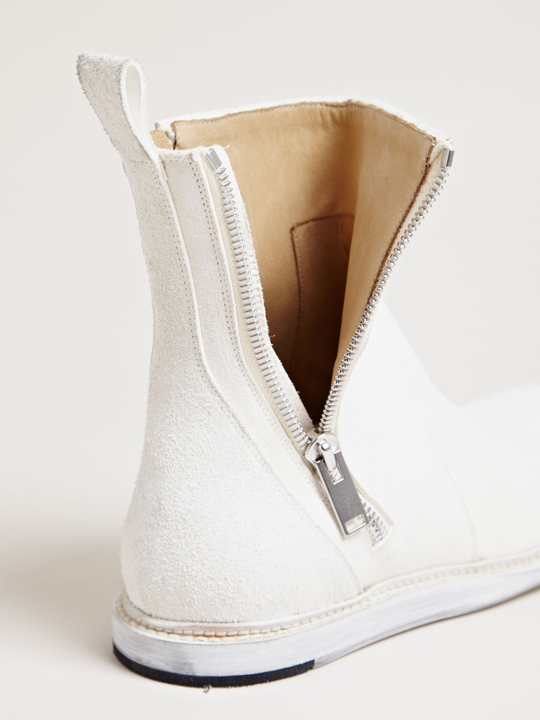 Milk White Zip Boots Rick Owens brushed leather 5