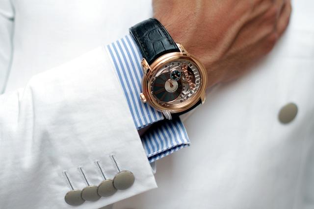 Venezia Tadzio gold watch striped shirt