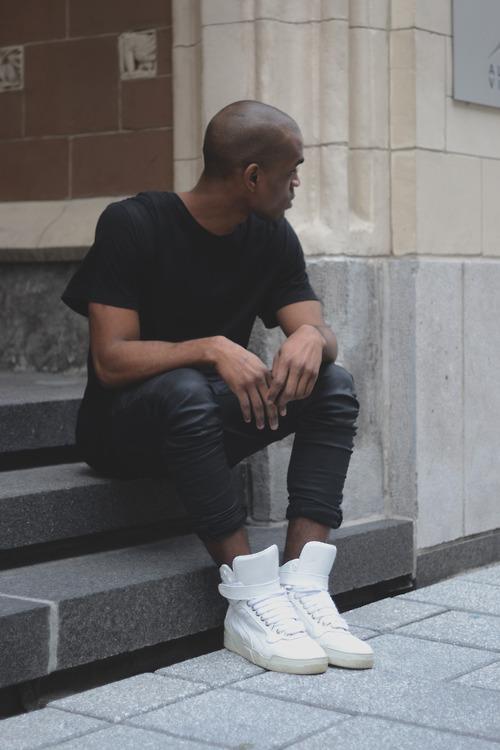 All Black with White Kicks