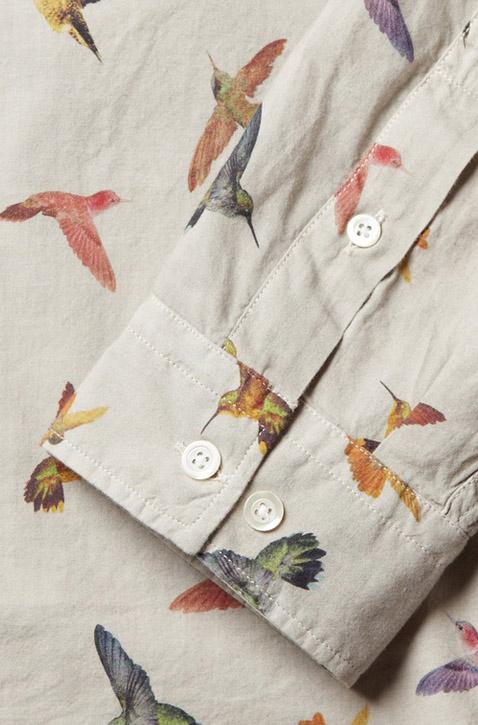 Bird Print Dress Shirt McQ by Alexander McQueen