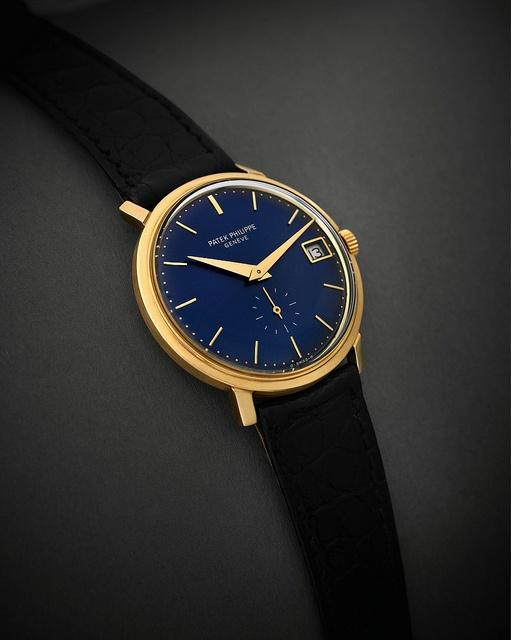 Incredisleek Patek Philippe gold blue watch