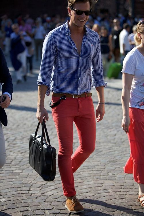 Red Pants x Blue Shirt x Leather Bag