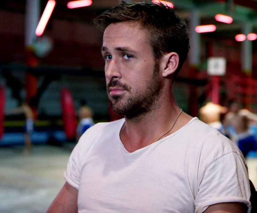 Ryan Gosling Only God Forgives Style 4 rolled sleeves white t-shirt