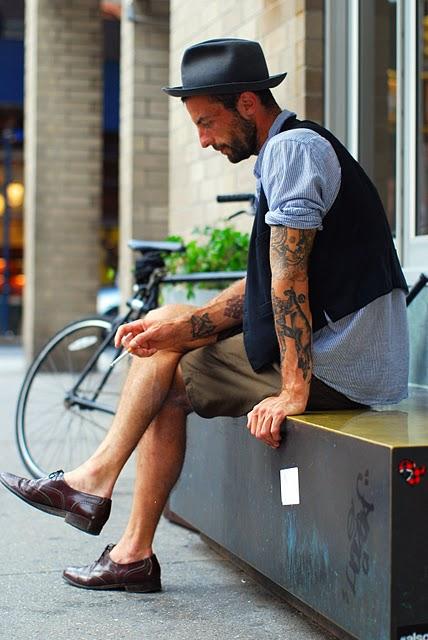 Vest, Shorts & Brown Oxfords