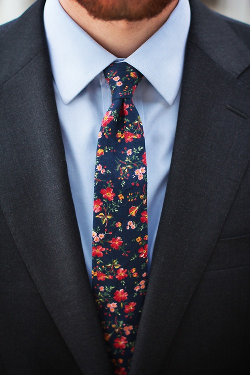 Vivid Flower Tie Men Style Red Yellow