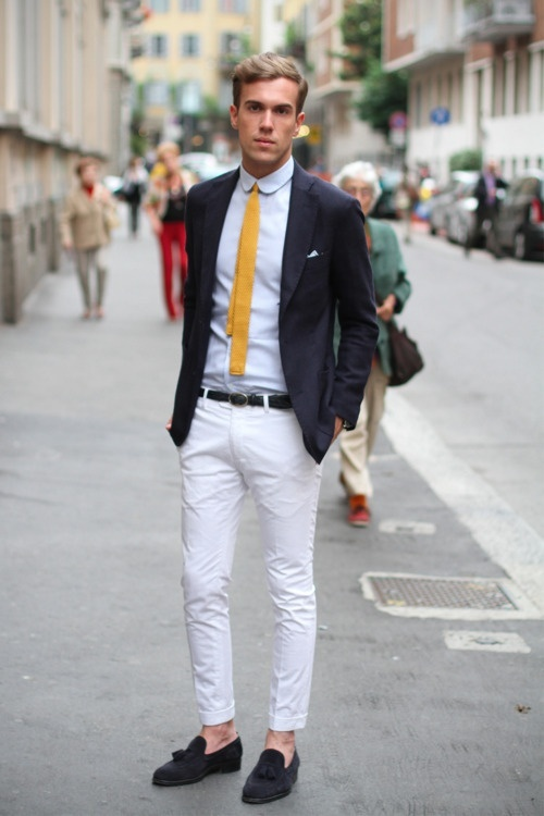 Yellow Tie Works white chino fashion