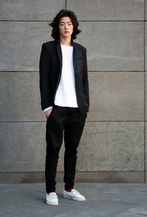 Black Jacket & Pants x White Shirt & Sneakers | SOLETOPIA
