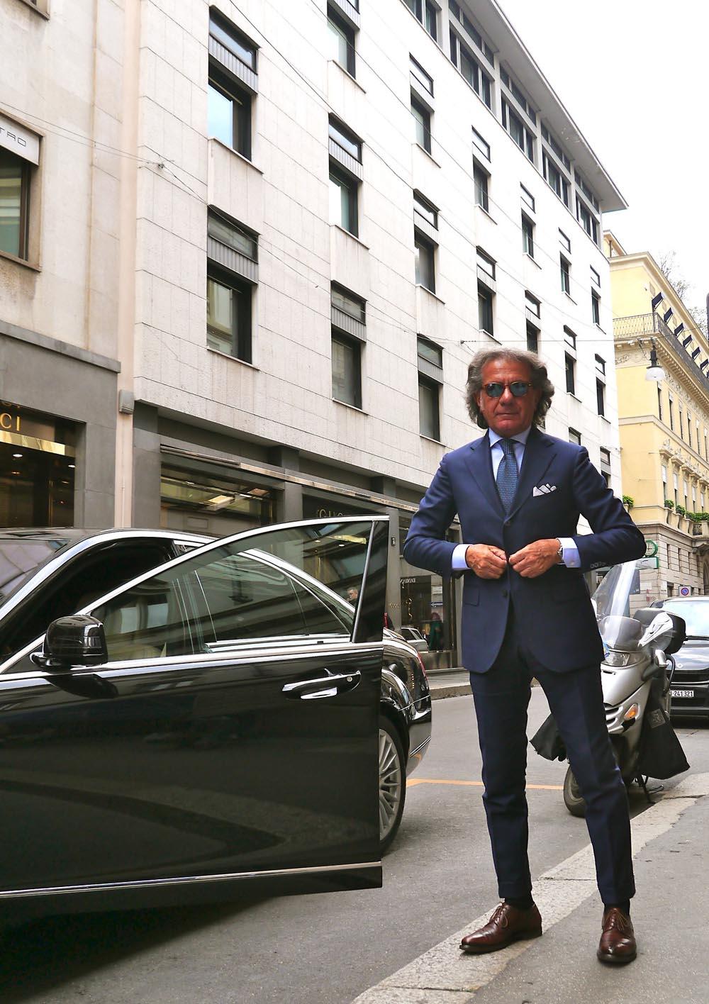 Blue Suit Italian Style pocket square
