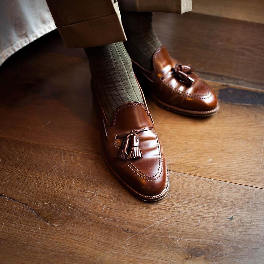 Brown Tassel Moc Loafers Alden x Leffot