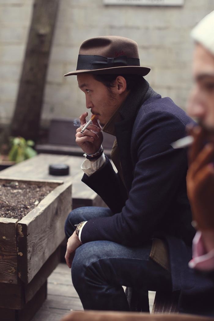 Dope Hat Smoking navy coat & jeans