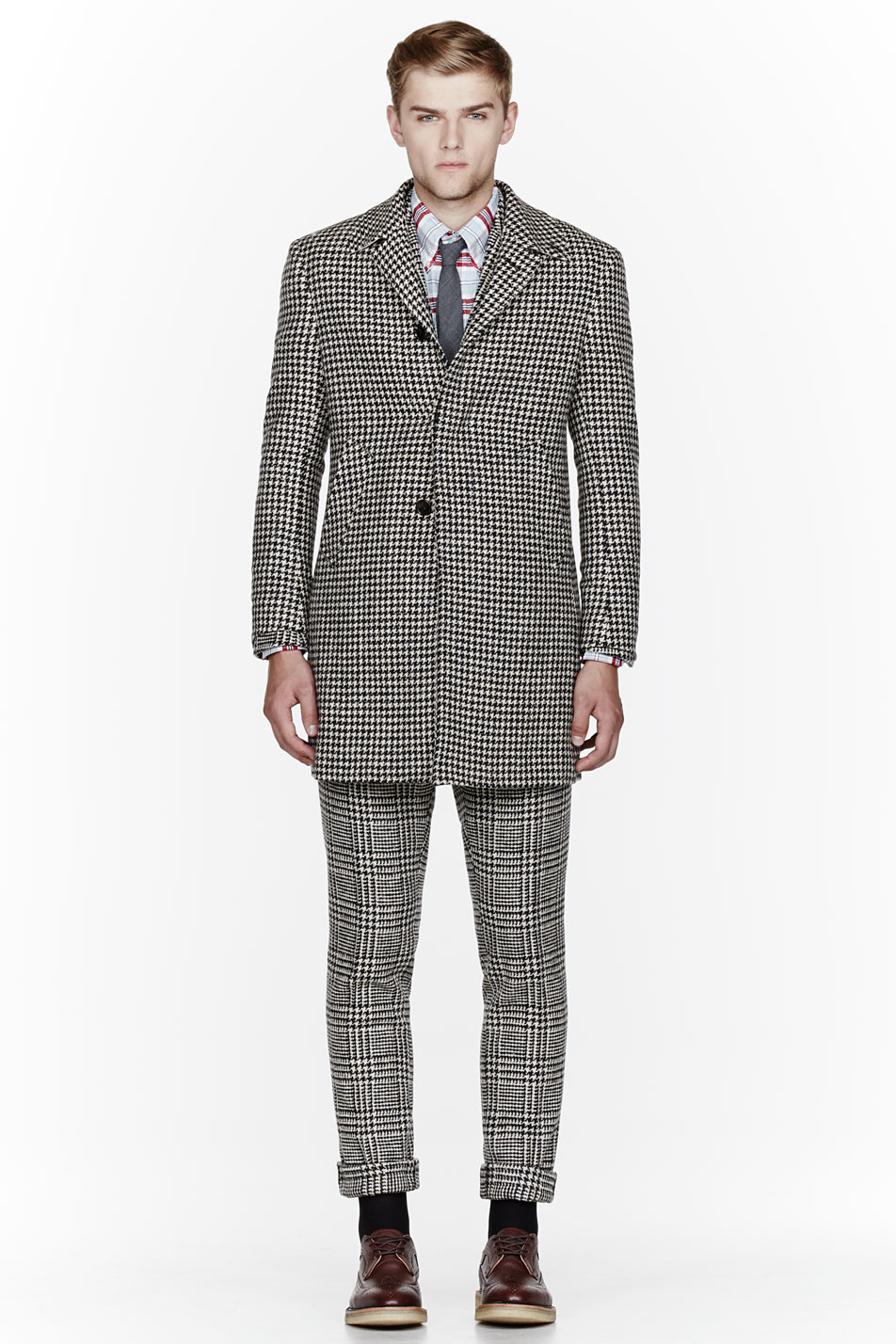 Glen Plaid Suit x Herringbone Coat Thom Browne 1
