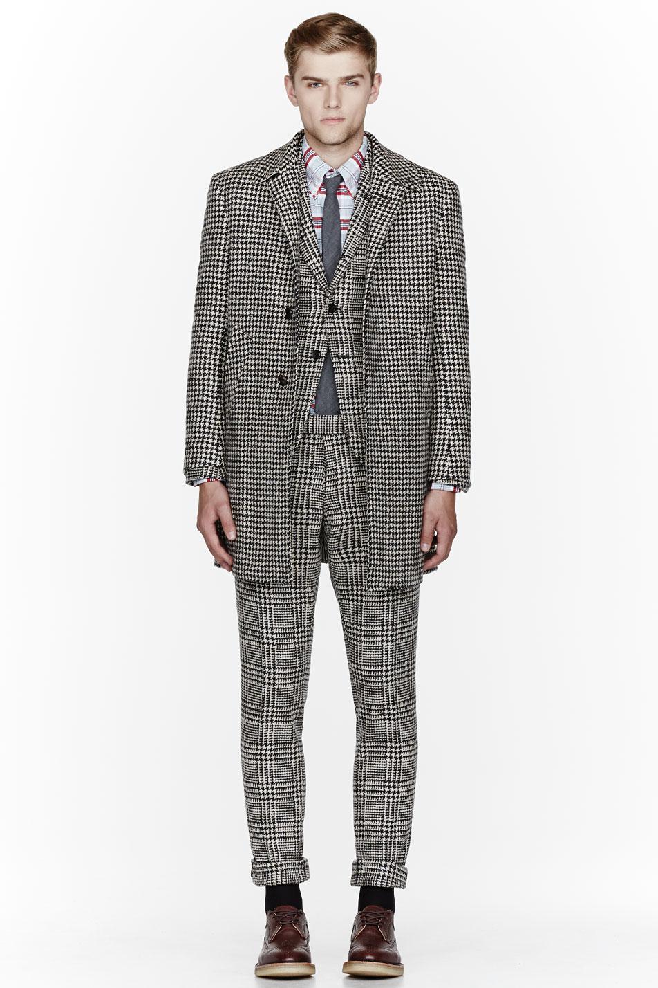 Glen Plaid Suit x Herringbone Coat Thom Browne 2