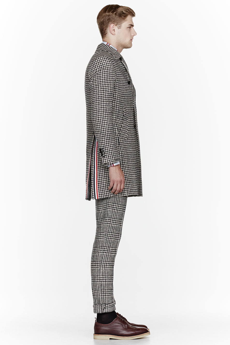 Glen Plaid Suit x Herringbone Coat Thom Browne 4