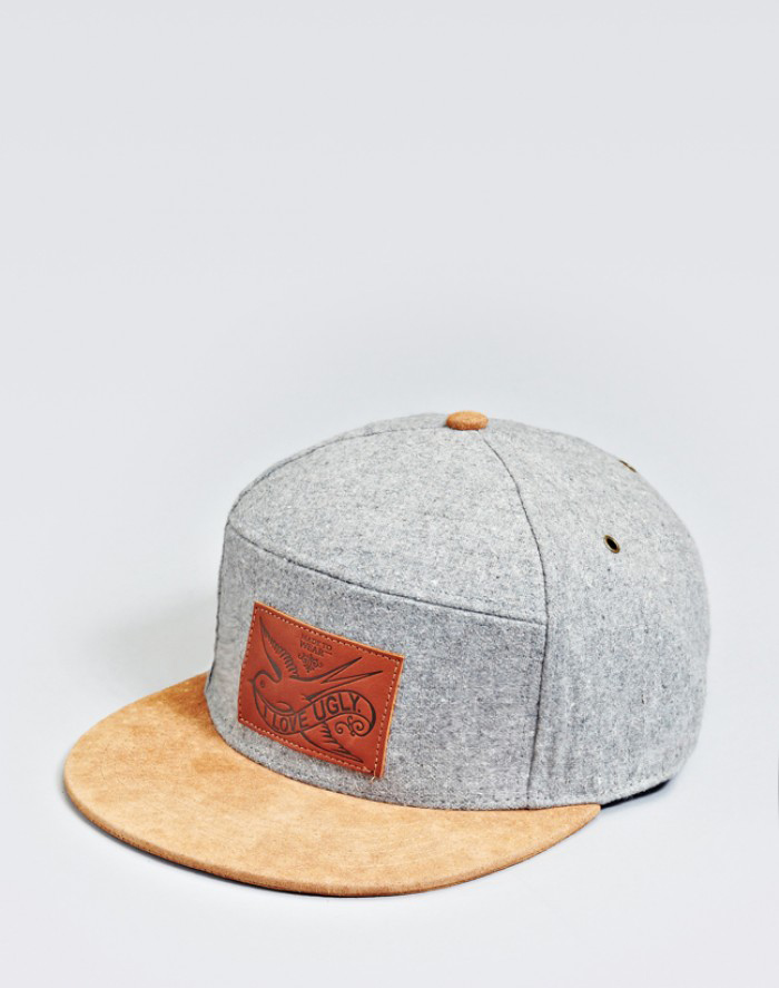 Grey Six Panel Snapback I love Ugly SS13