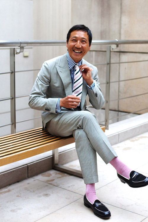 Grey Suit x Blue Stripes & patent loafers