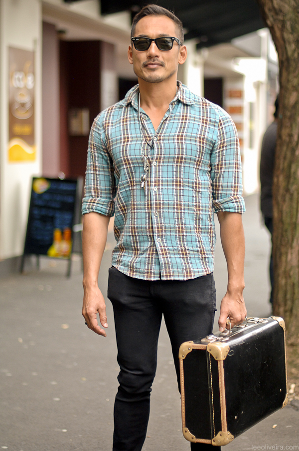 Linen Plaid Skinny Jeans musician style ray ban