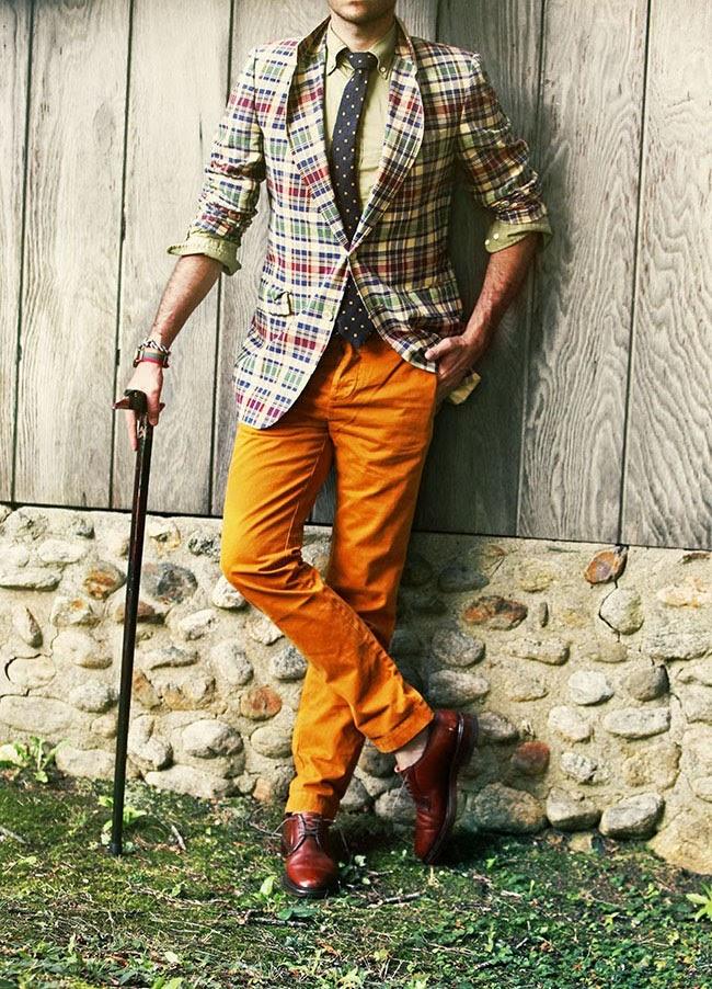 Madras Jacket x Goose Cane Orange chino