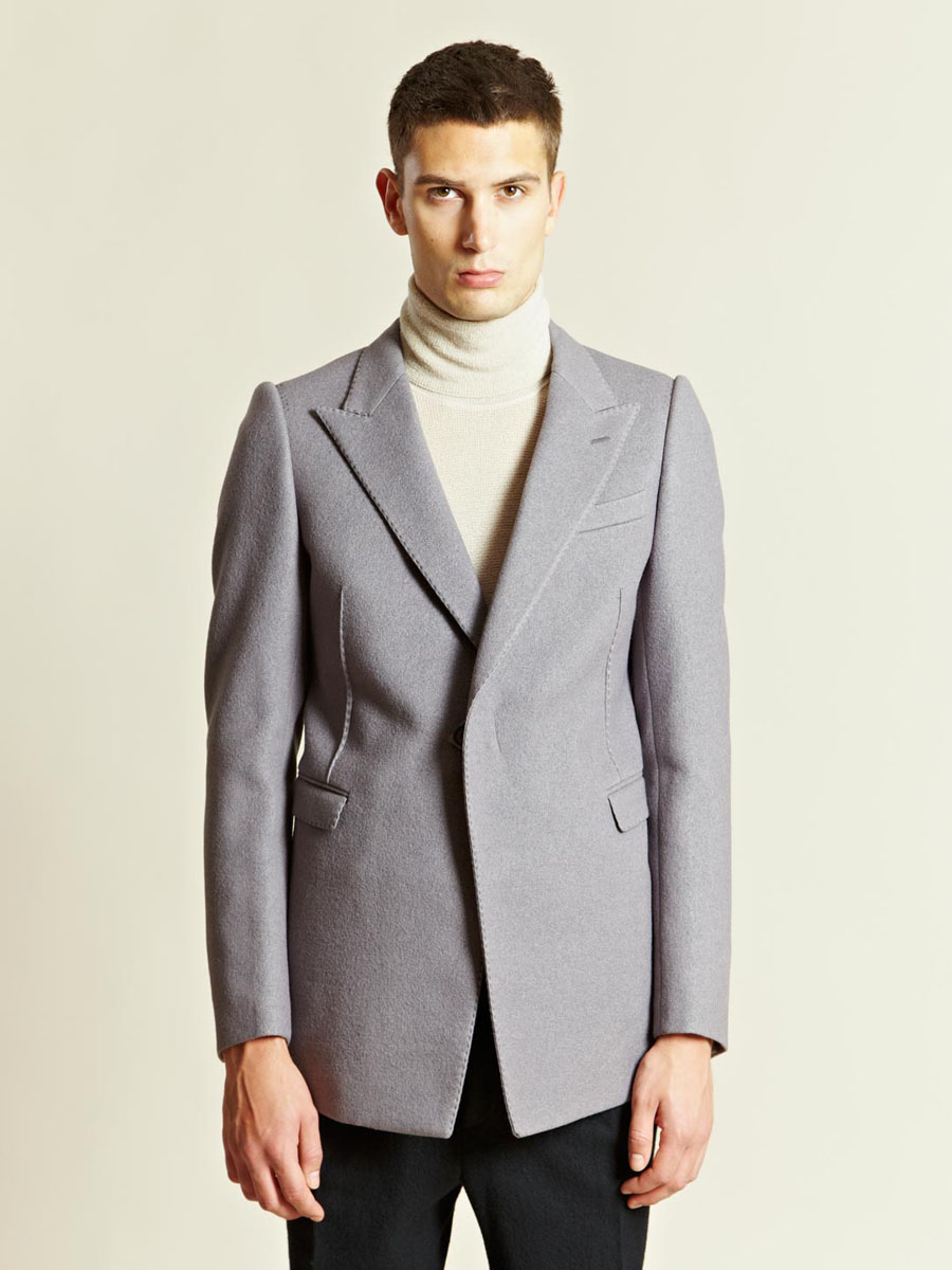 One Button Long Jacket Lavender Peak Lapel LANVIN