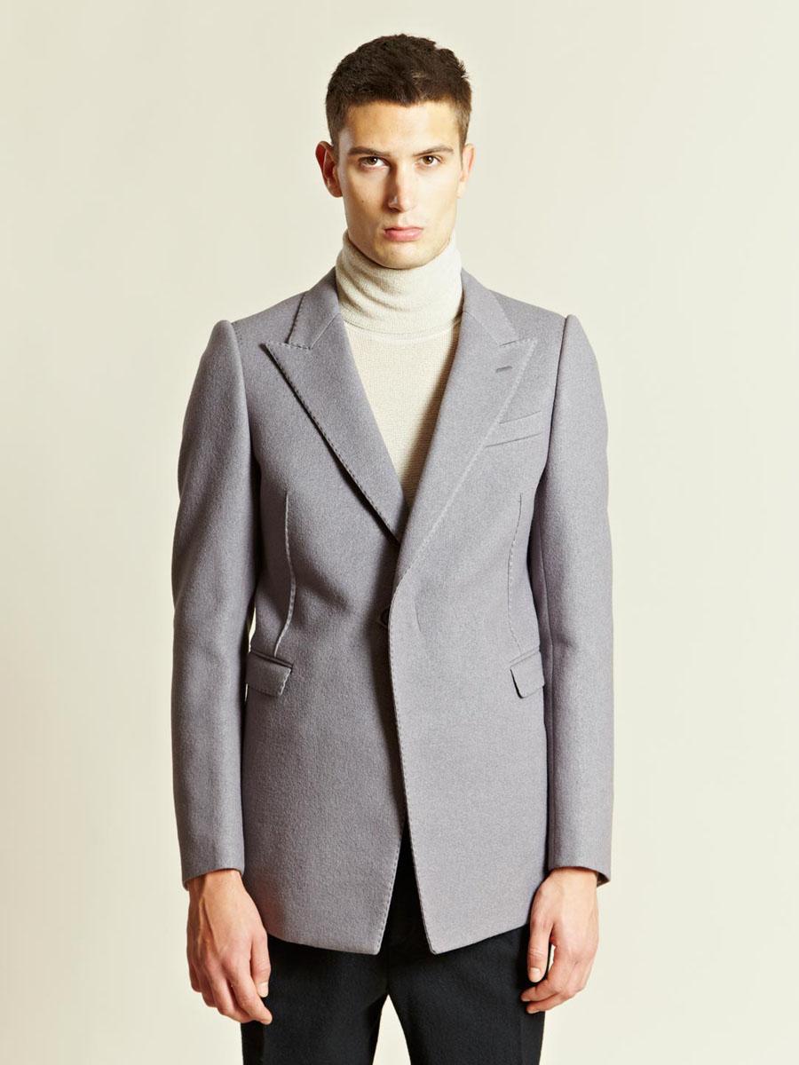One Button Long Jacket Lavender Peak Lapel LANVIN
