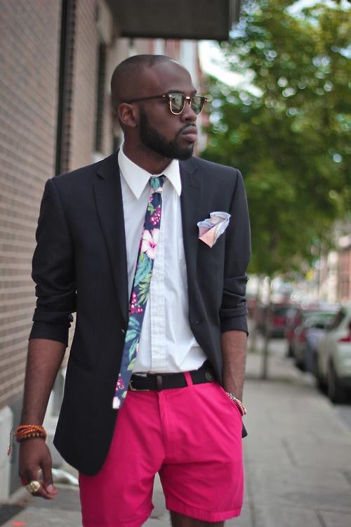 Spot on floral necktie blazer pink shorts
