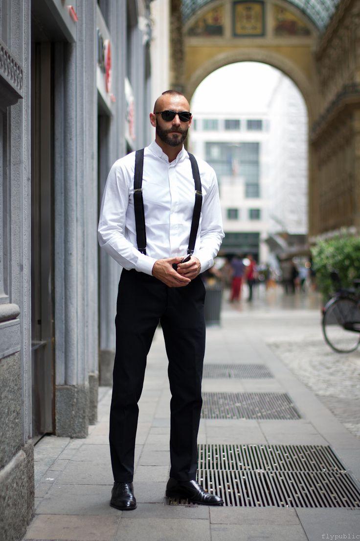 Suspenders black & white fashion