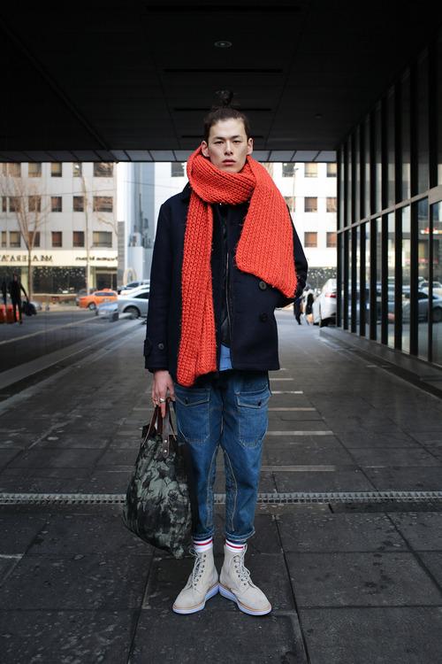 Big Orange Scarf x sand wingtip boots streetwear streetstyle