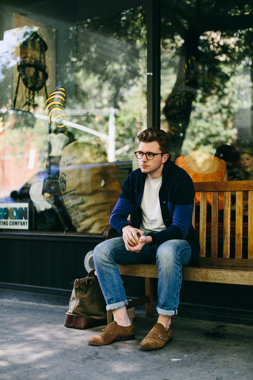 Blue Jeans x Suede Double Monks streetstyle
