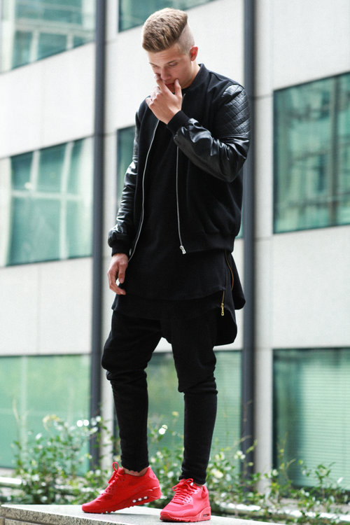 Can't Decide? Wear Black all red sneakers streetstyle streetwear