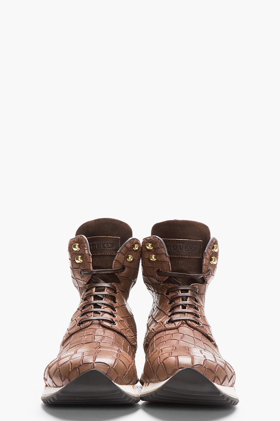 Croc-Embossed Hi-Top Sneakers Alexander McQueen style 2