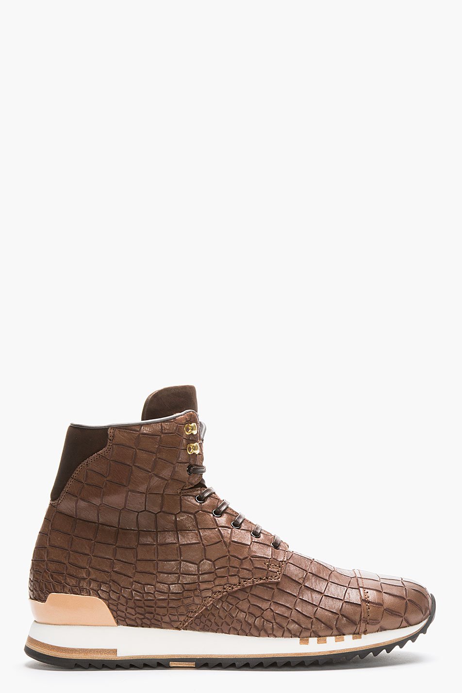 Croc-Embossed Hi-Top Sneakers Alexander McQueen style 4