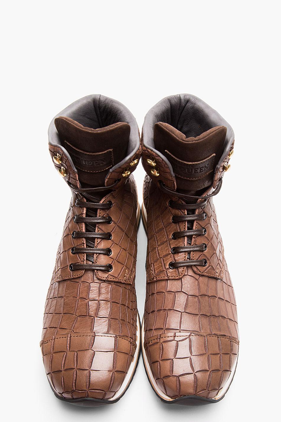 Croc-Embossed Hi-Top Sneakers Alexander McQueen style
