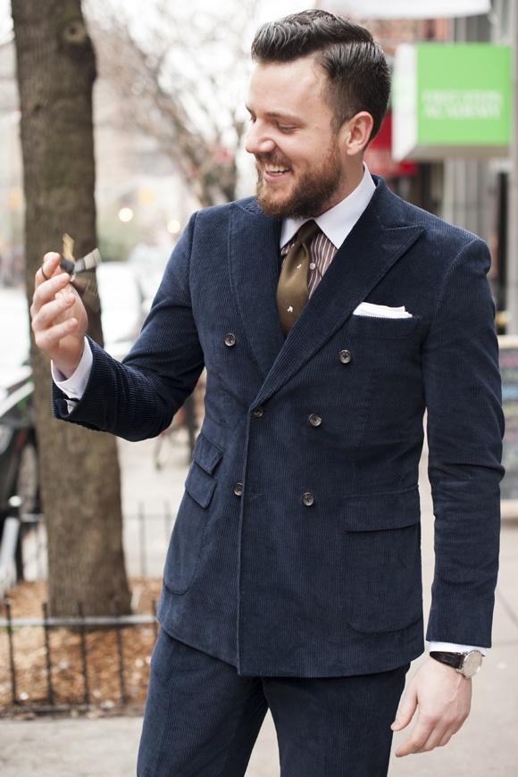 DB Navy Corduroy Suit menswear streetstyle