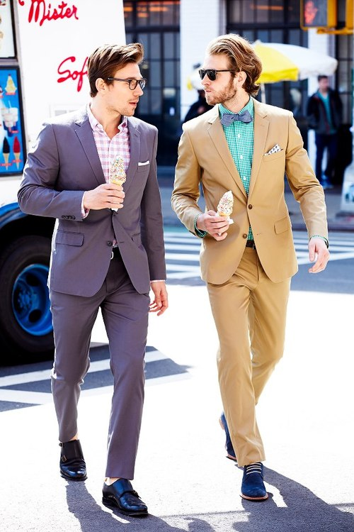 Eating Ice Cream in Suits menswear streetstyle