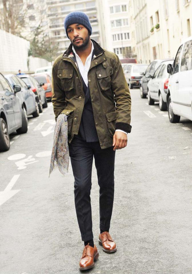 Military JAcket x Suit x Beanie streetstyle lookbook
