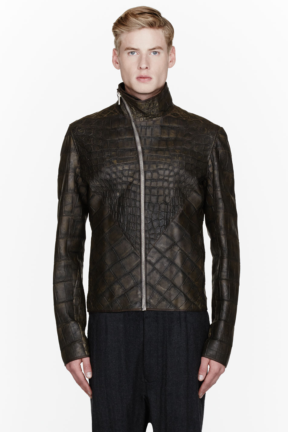 Rick Owens $50,000 leather jacket alligator menswear lookbook 1