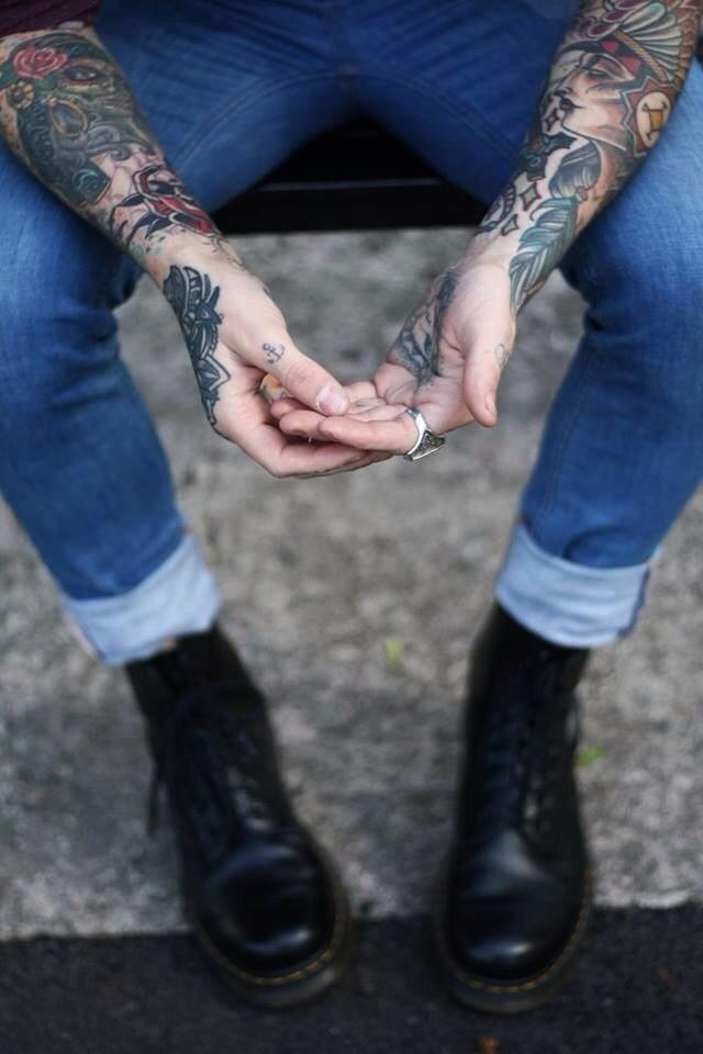 untitled by Carrie Furnell tattoo sleeves & skinny jeans Dr. Martens