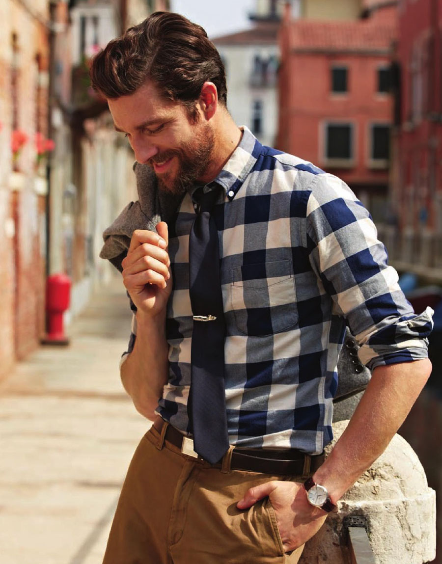 Cedric Bihr for J.Crew in Venice blue gingham