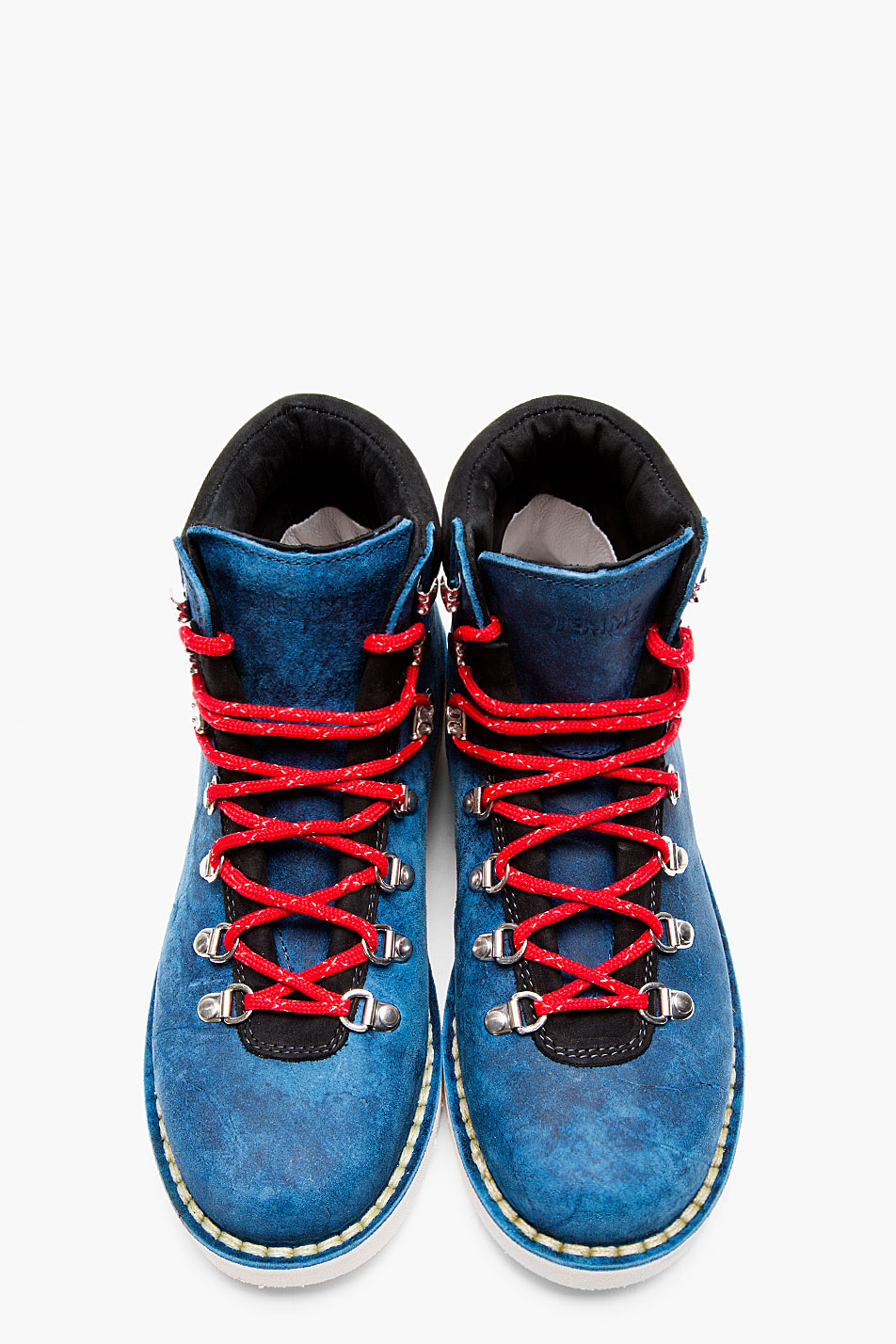 Distressed Navy Suede Hiking Boots Diemme