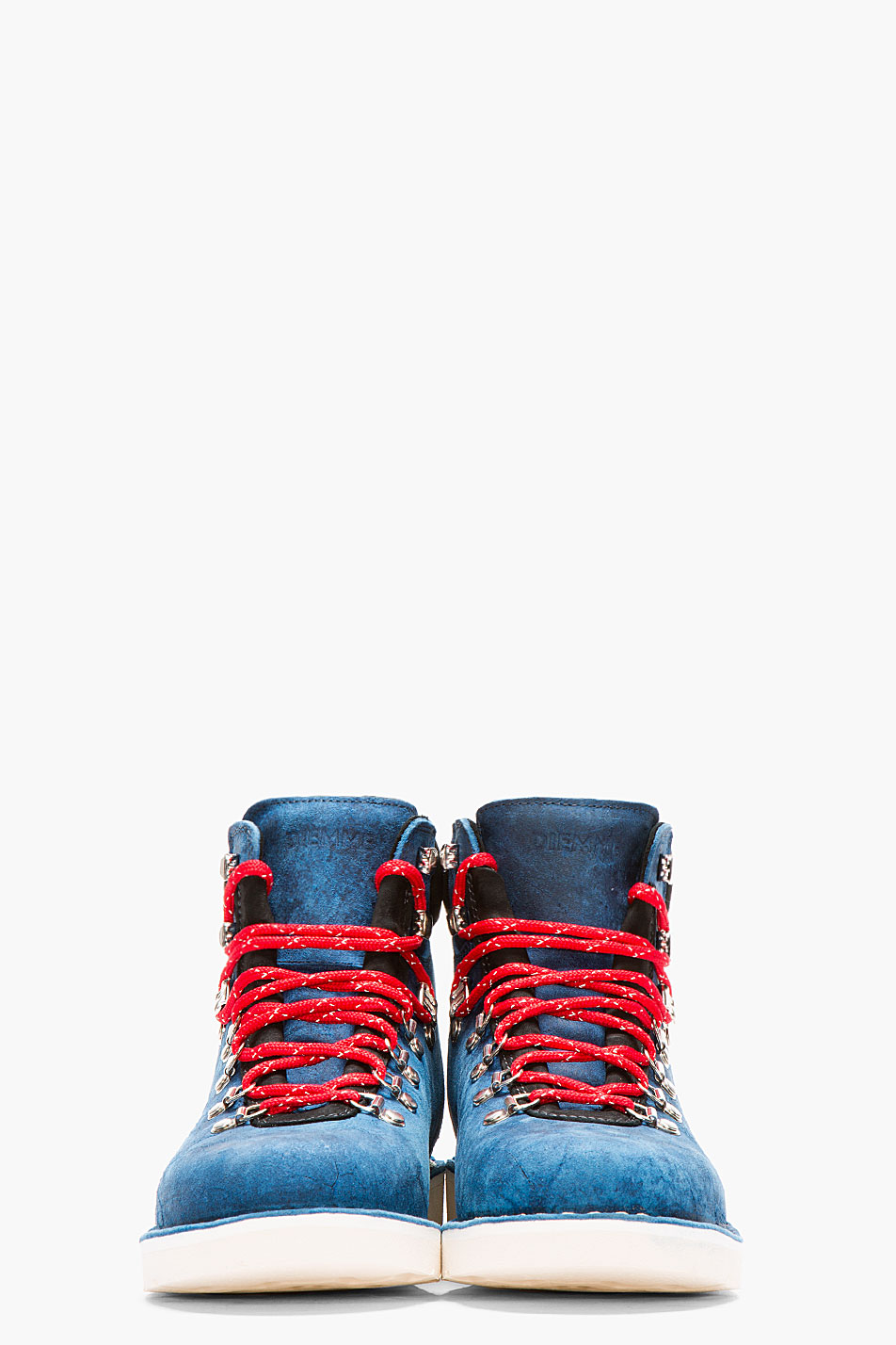 Distressed Navy Suede Hiking Boots Front View