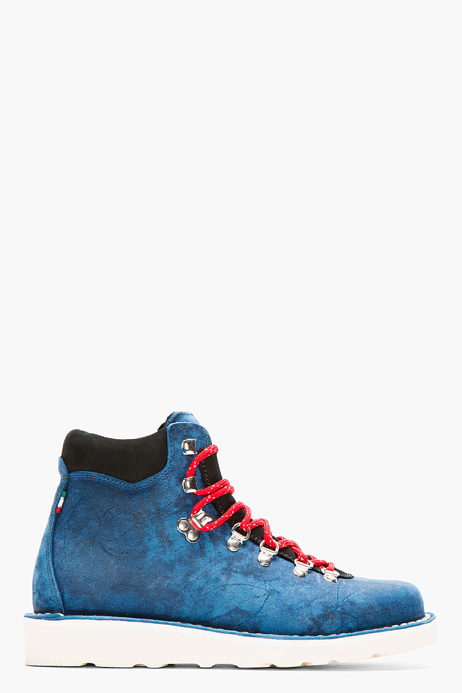 Distressed Navy Suede Hiking Boots Side View