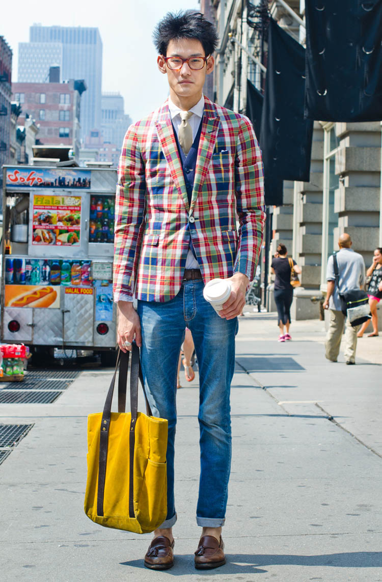 Holding a Cup on Sidewalk Plaid Jacket bag street fashion