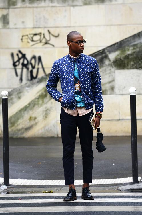 Look Both Ways blue pattern jacket street fashion