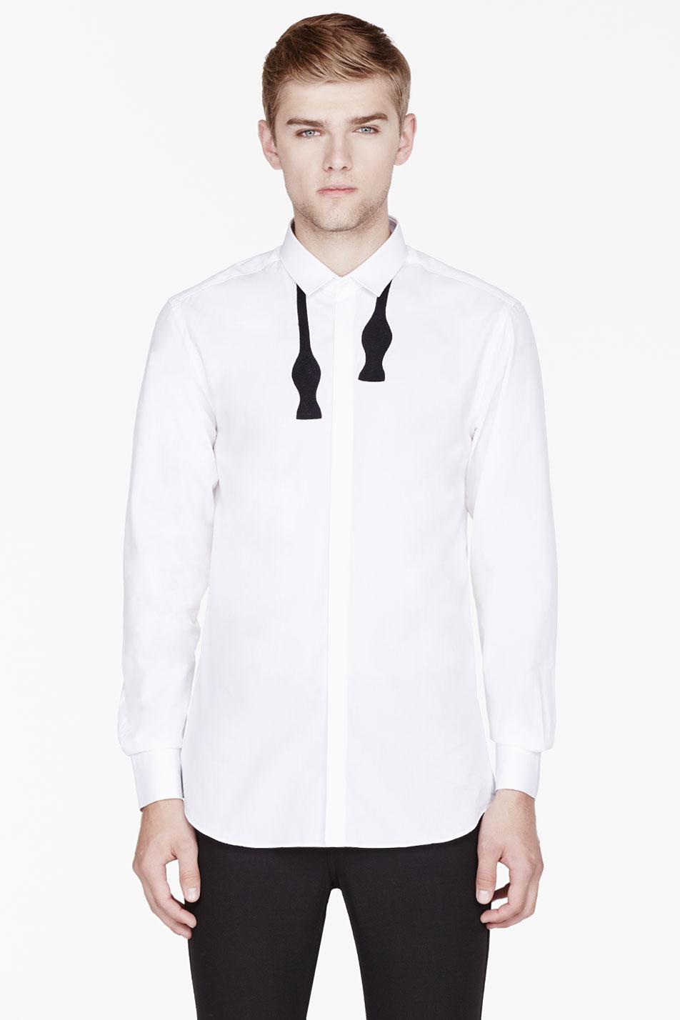Neil Barrett White Bow Tie Appliqué Shirt